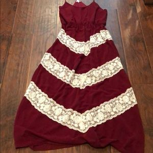 Crimson with lace detail maxi dress